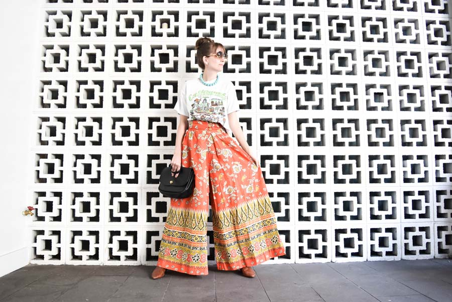 Houston blogger vintage outfit tiled wall Sofia Emm