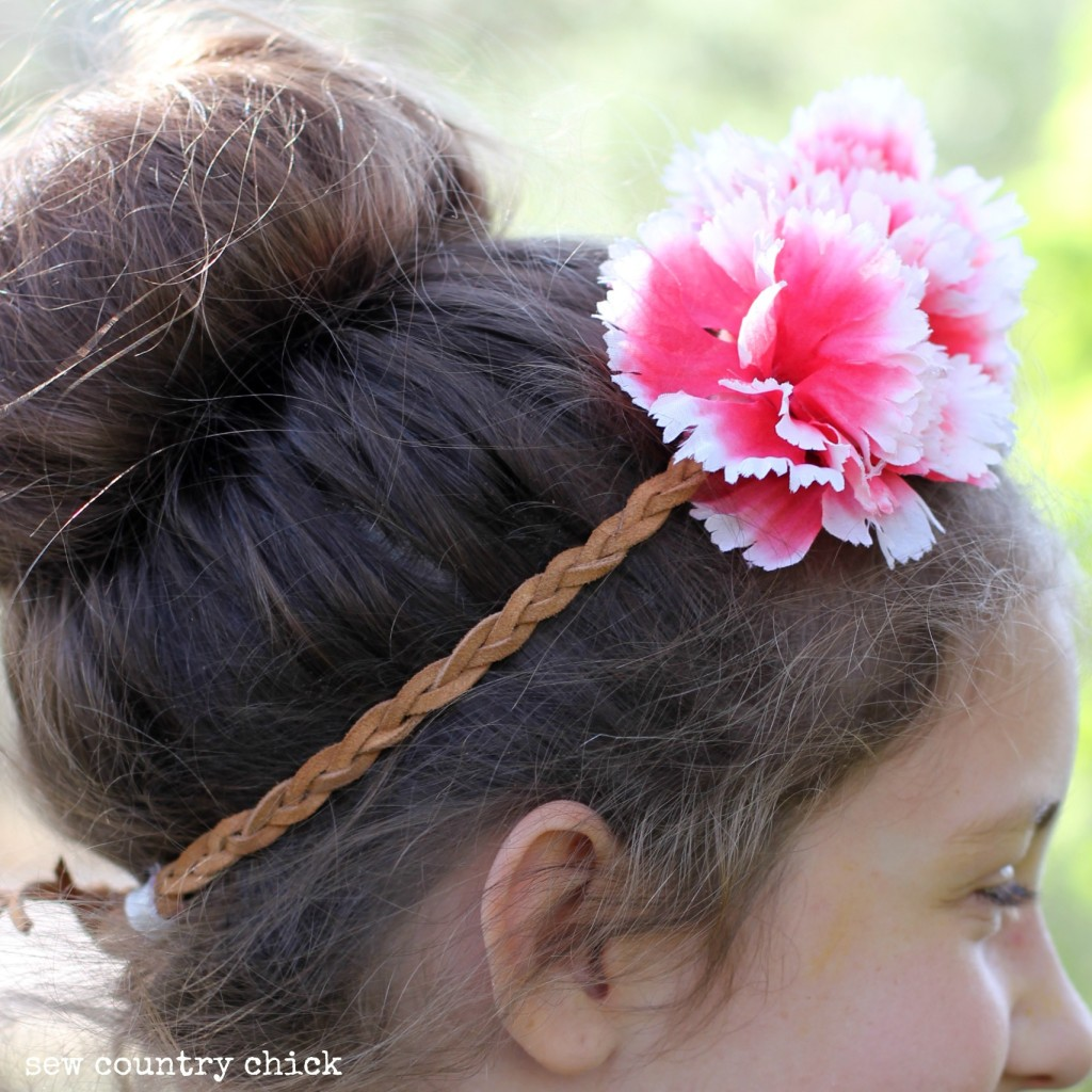 braided leather flower headband by sew country chick boho diy