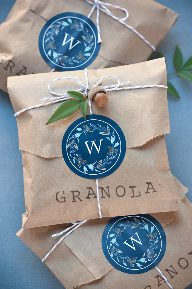 customized stamp and acorn granola bags diy gift ideas from pop shop america