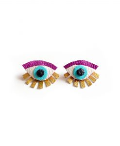 purple seeing eye stud earrings ear jacket