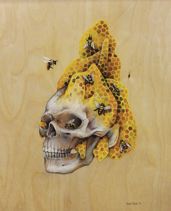 Honeycomb Skull Painting by Anne Byrd Houston Artist