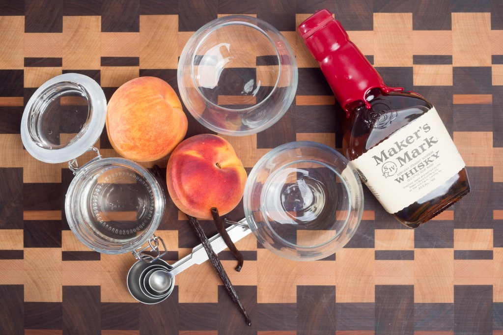 supplies to make vanilla whiskey and peach cocktail recipe