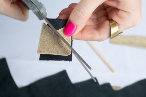 use the leather as a stencil how to make leather cocktail stirrers diy