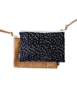 black specks leather clutch handmade leather goods