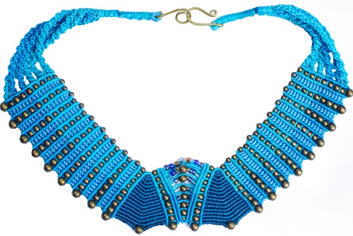 bluetribneck_lillianeelysian Macrame Art Necklace