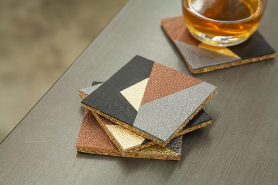 geometric leather coaster diy pop shop america