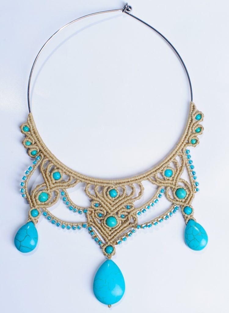 necklacemacrame_lillianeelysian Blue Tan Macrame Art