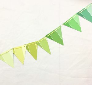 finished bunting party garland diy with paint samples