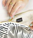 detail of wild stripes clutch by zana