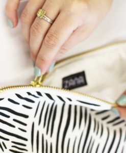 detail of wild stripes clutch by zana