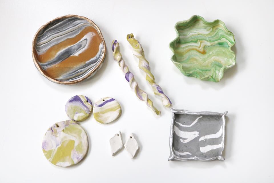 marbled clay jewelry and marbled clay dishes