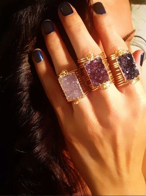 layered gemstone rings boho jewelry