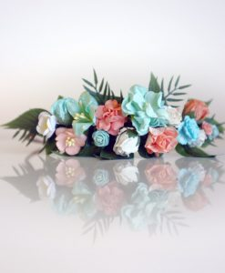 diy flower crown kit peach mint white paper flowers