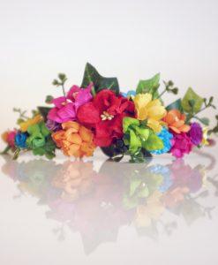 rainbow flowers in diy flower crown kit