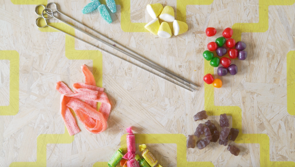 supplies to make rainbow candy skewers pop shop america dessert recipe